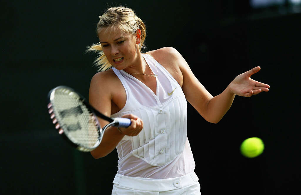 LONDON - JUNE 26:  Maria Sharapova of Russia plays a forehand during the round two women's singles match against Alla Kudryavtseva of Russia on day four of the Wimbledon Lawn Tennis Championships at the All England Lawn Tennis and Croquet Club on June 26,