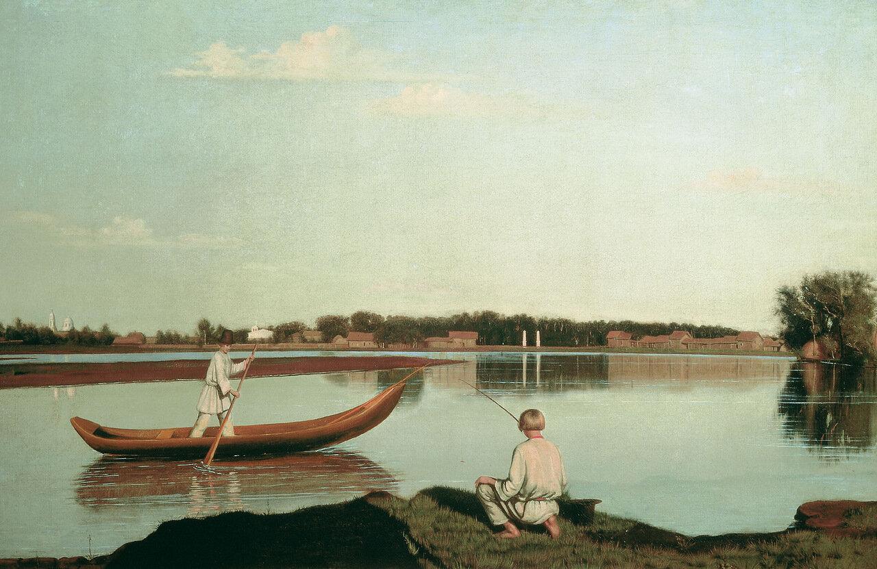 Рыбаки. Вид в Спасском. Вторая половина 1840-х, холст, масло, 67х102 см.jpg