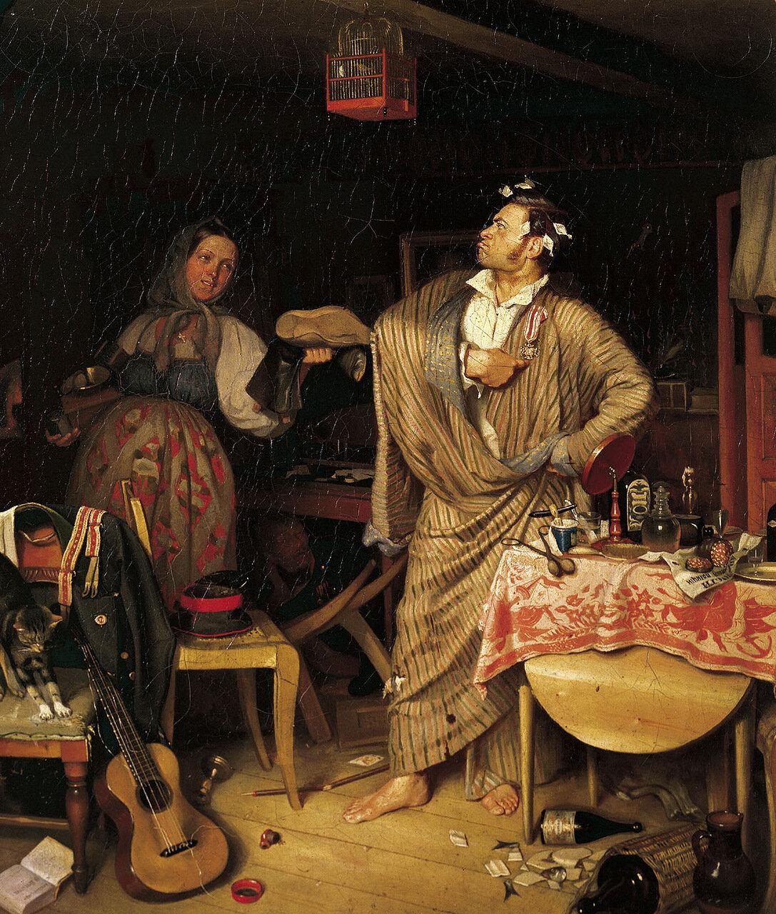 «Свежий кавалер». Утро чиновника, получившего первый крестик. 1848. Холст, масло. 48х42 см.jpg