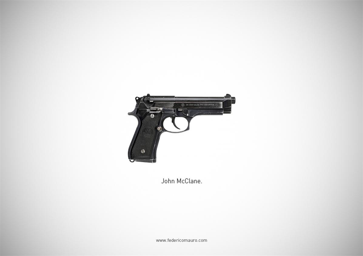 Знаменитые пушки - оружие культовых персонажей / Famous Guns by Federico Mauro - John McClane (Die Hard)
