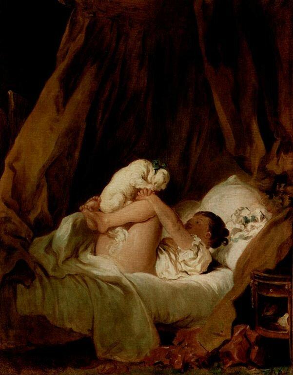 Девочка в постели, играющая с собачкой,1765-1772__ Жан Оноре Фрагонар (1732–1806)