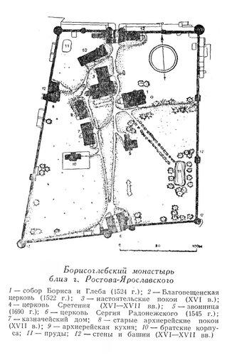 Борисогребский монастырь близ Ростова-Ярославского, генплан