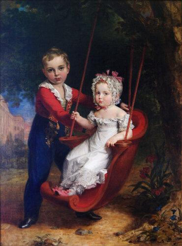 Джордж Доу (1781-1829). Портрет вел.кн. Марии Николаевны и вел.кн. Александра Николаевича