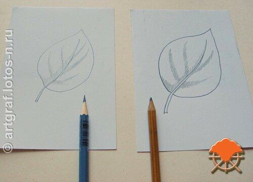 Штриховка острым и тупым карандашами