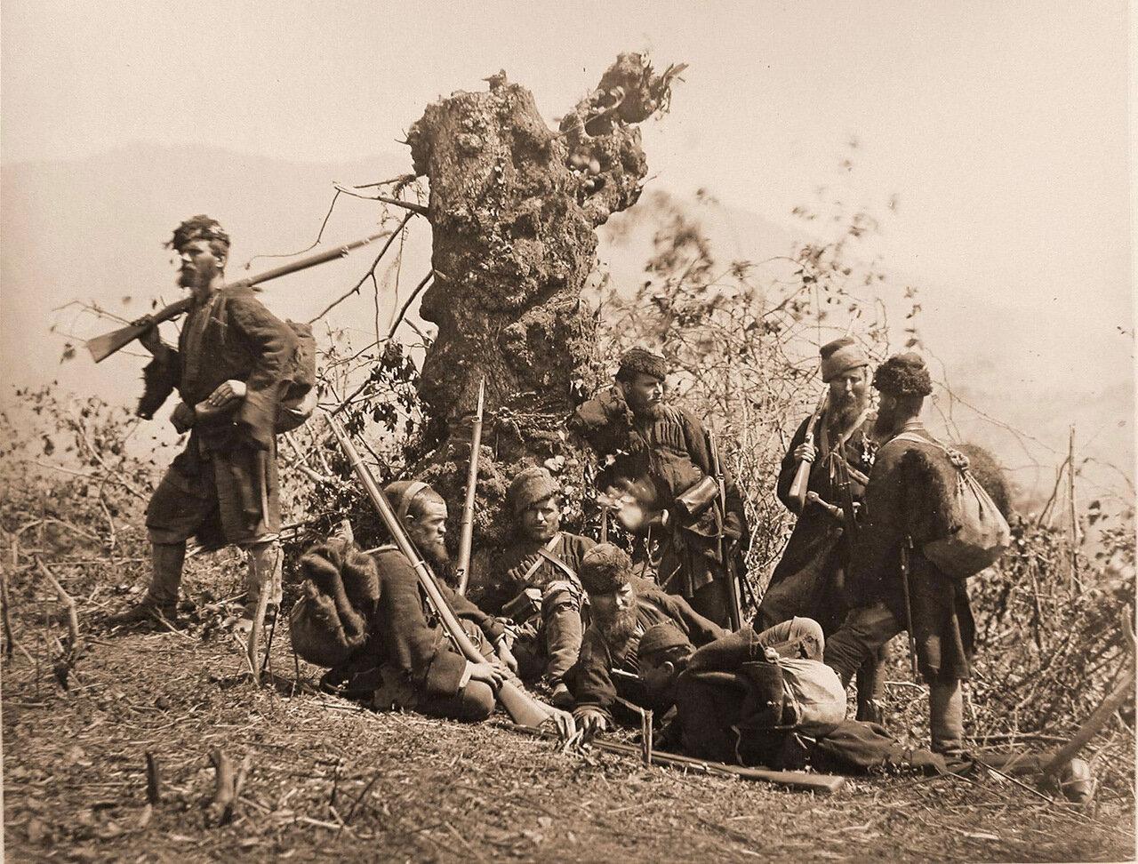 Охотники 1-го Пластунского батальона, уничтожившие передовой  Турецкий пикет из 16 человек у реки Кинтиш