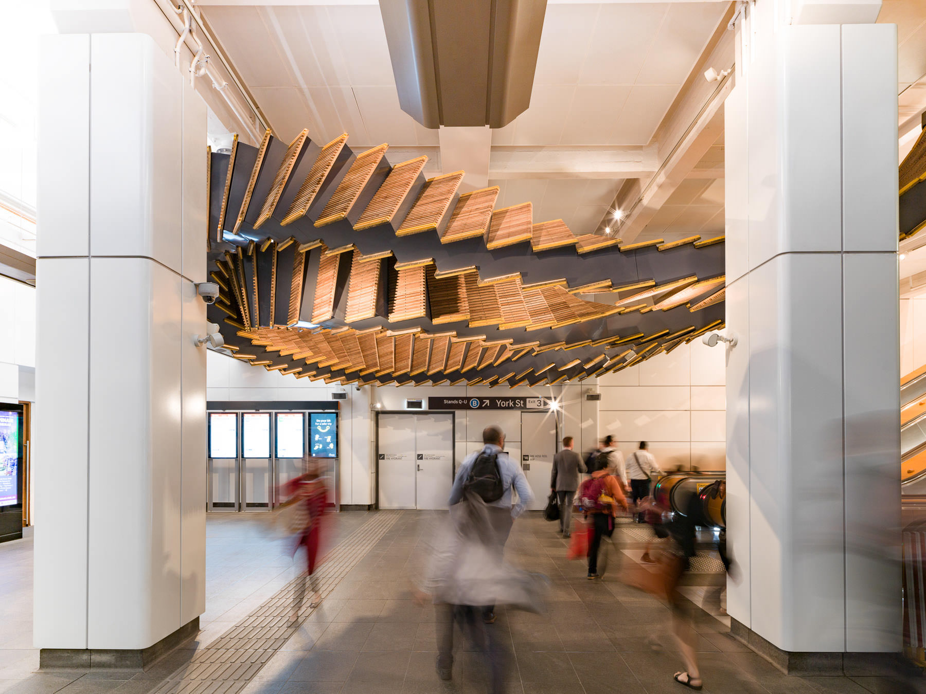 Sculptural Installation Made from Historic Wood Escalators in Sydney