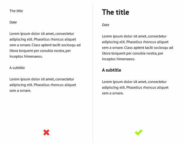 Правильно создавайте иерархию в тексте