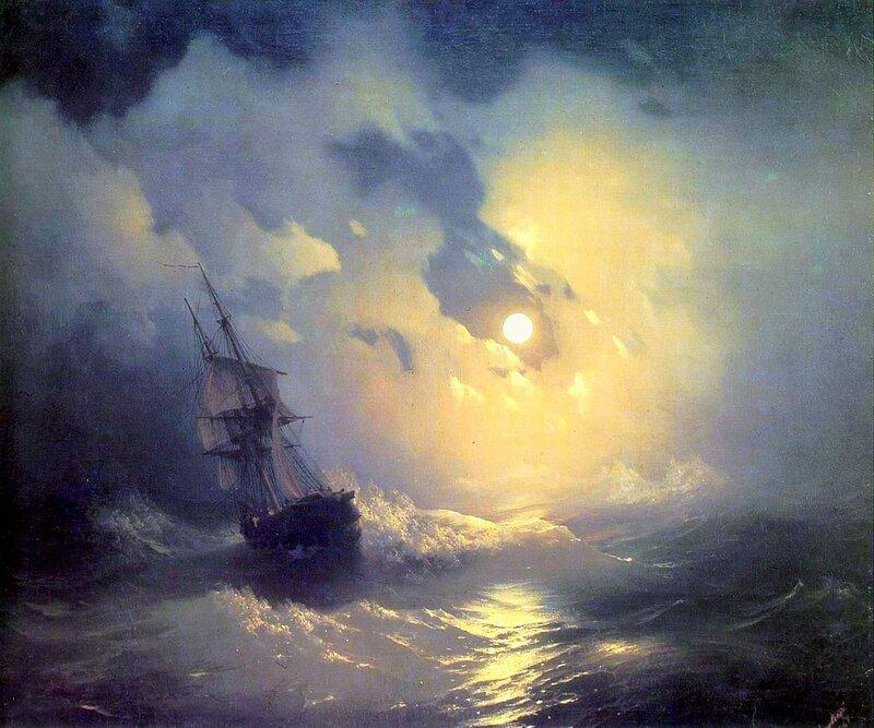 Буря на море ночью, Айвазовский, живопись