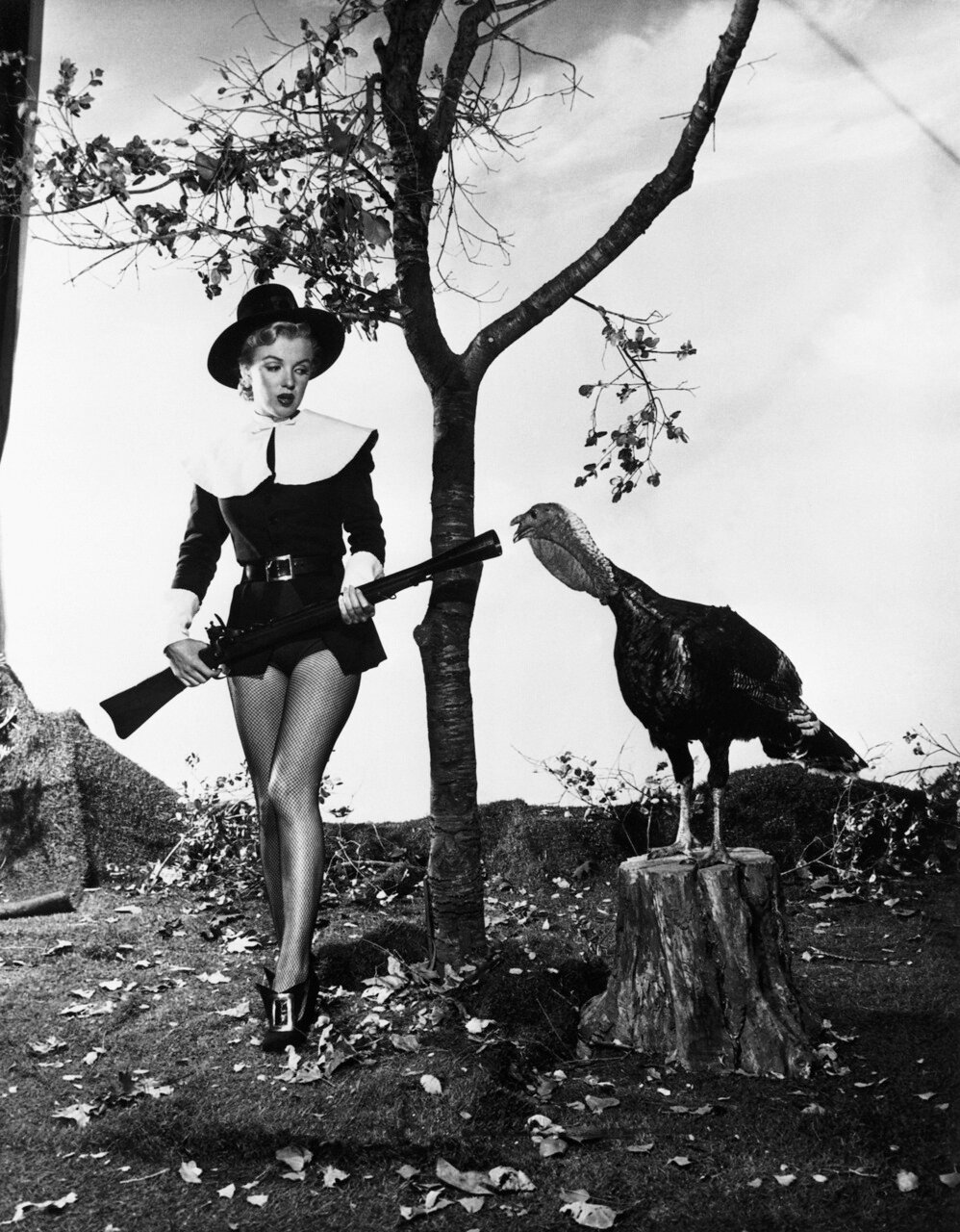 Marilyn Monroe Posing with a Turkey