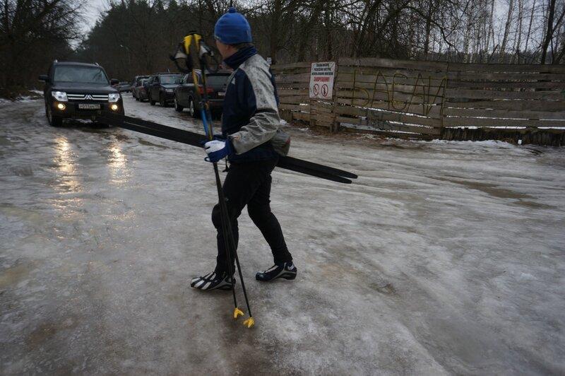 На лыжах под дождем
