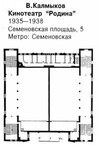 Кинотеатр Родина в Москве, план