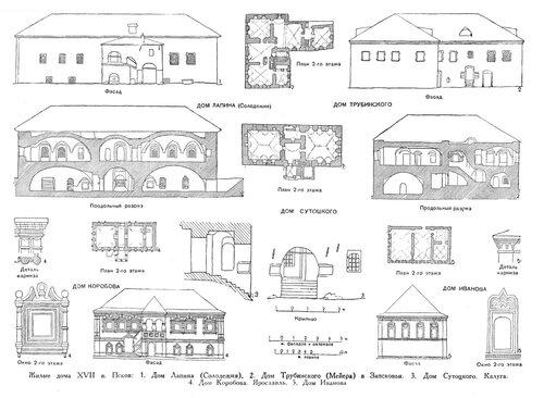 Жилые дома в России 17 века, чертежи