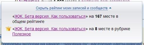 Рейтинг постов ЖЖ