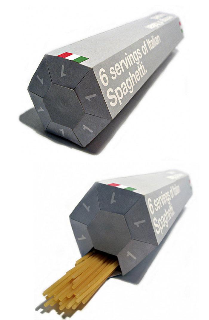 Упаковка для спагетти, где каждое отверстие отмеряет порцию для одного человека.