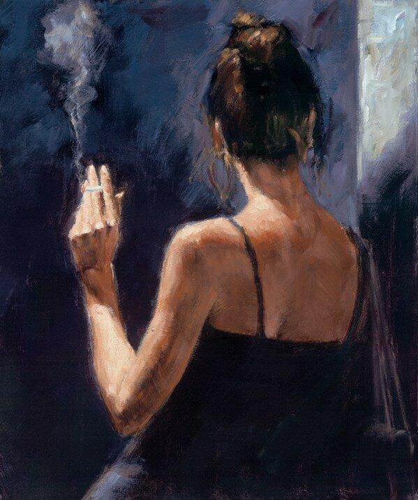 Он ждал в кафе… в волнении курил…Художник Fabian Perez