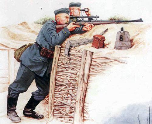 Немецкие снайперы на позициях