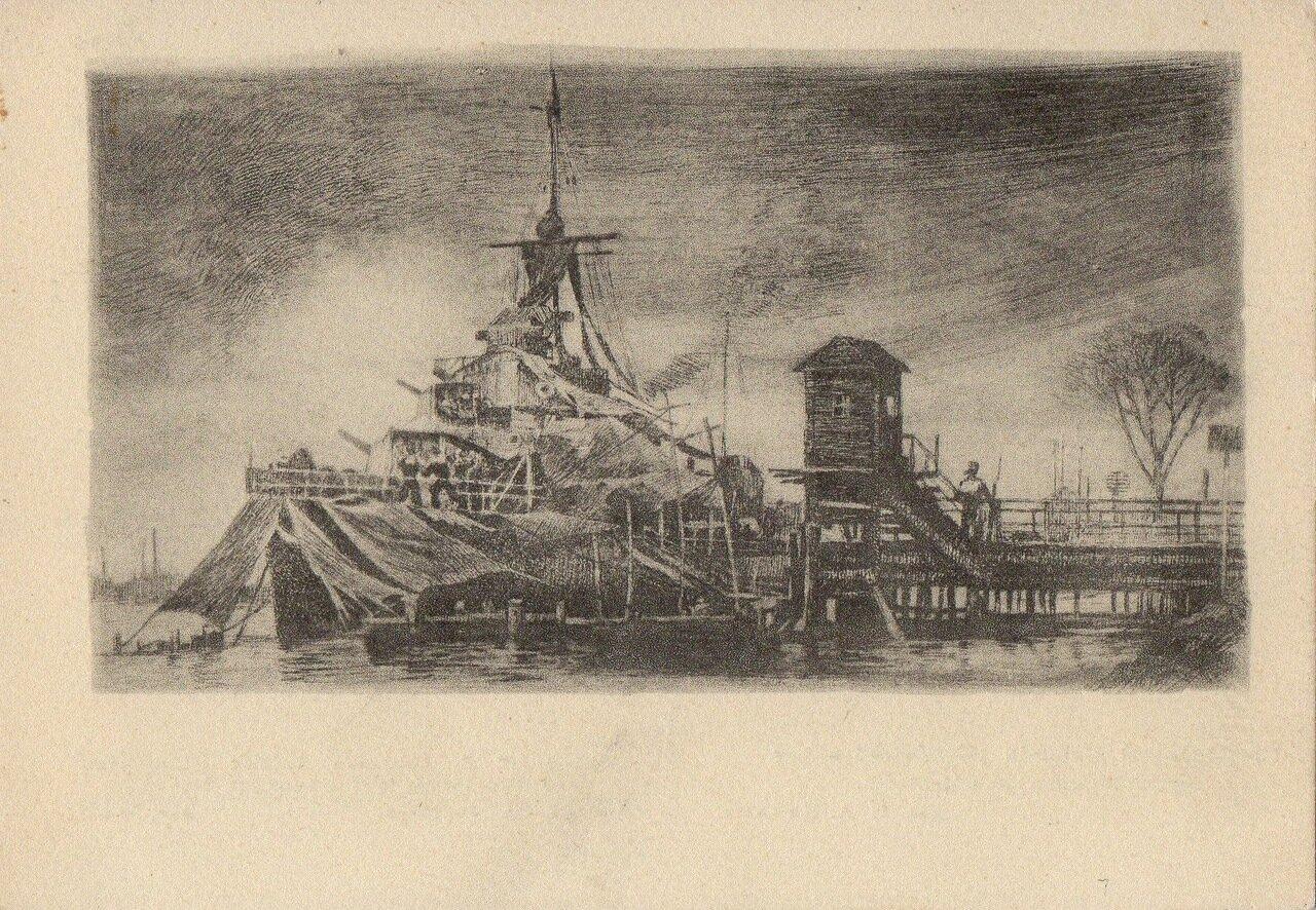 1945. Гвардейский эсминец Стойкий ведет артиллерийскую стрельбу.