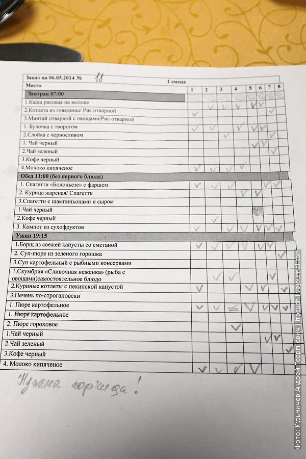 лист заказ ресторана теплохода Русь Великая