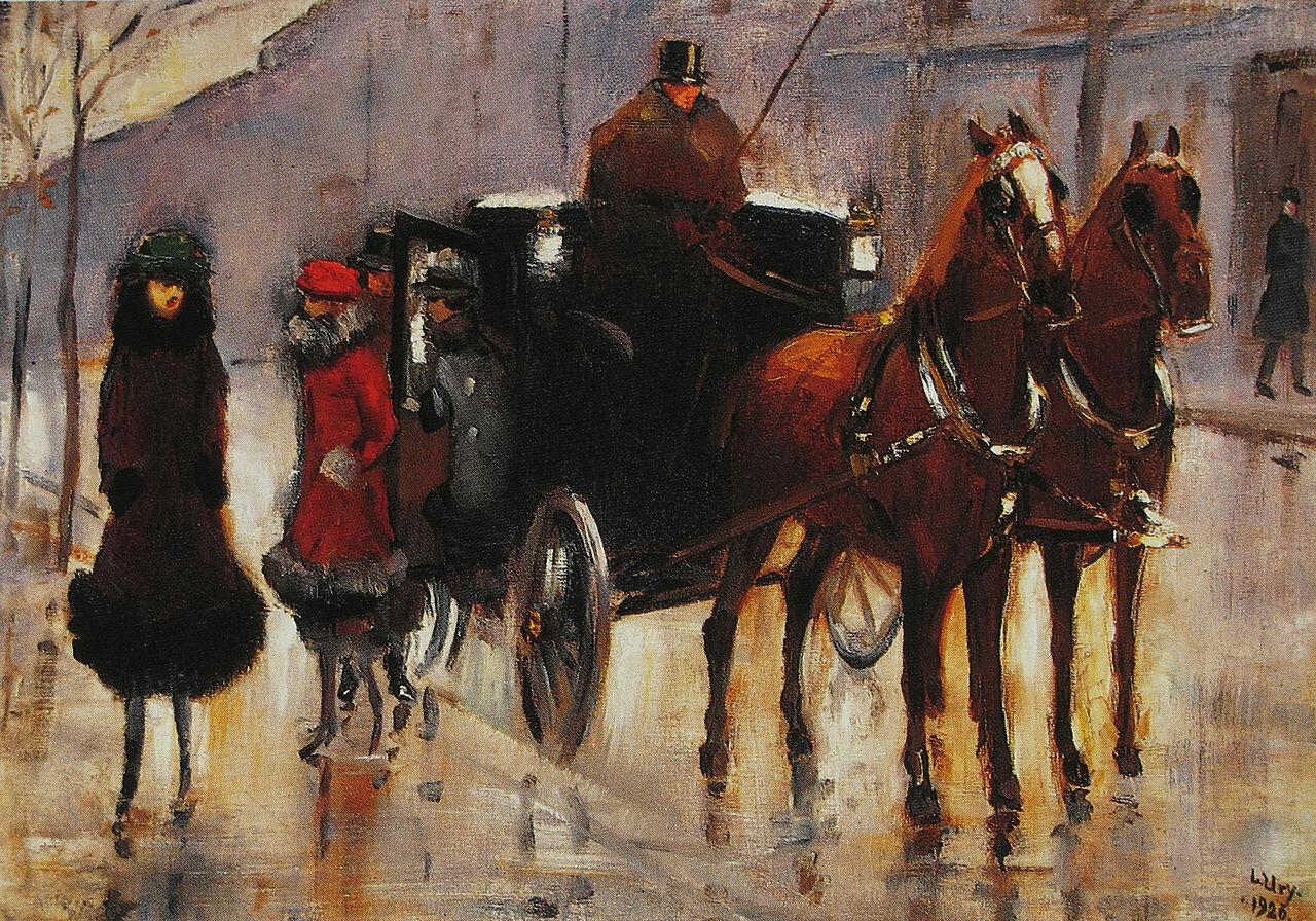 Дама, садящаяся в пролётку. 1920 Лессер Ури (1861-1931)