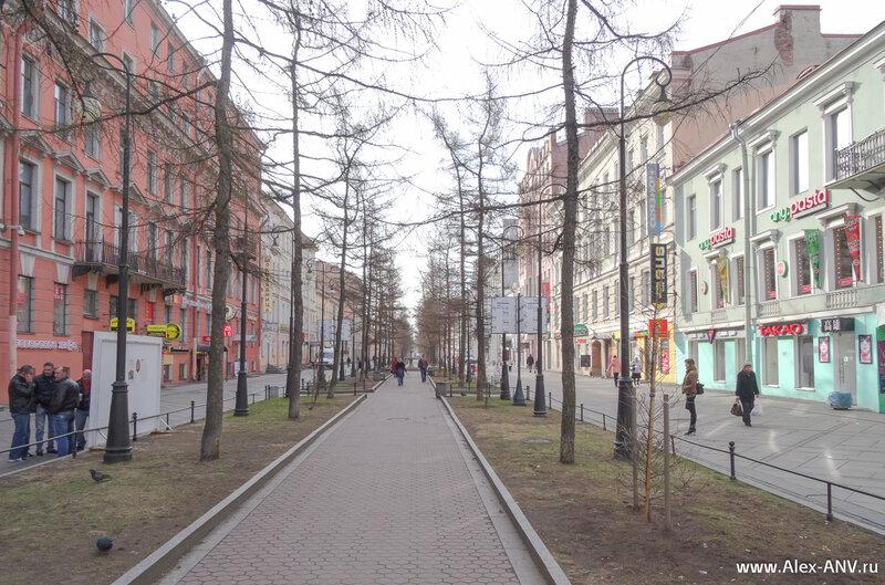 Шестая линия Васильевского острова. Кажется единственная пешеходная линия, хотя и только в средней своей части.