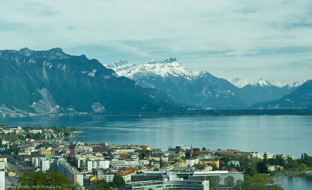 Фотография 2. Швейцарские Альпы из окна арендованного автомобиля. По дороге в город Монтрё.