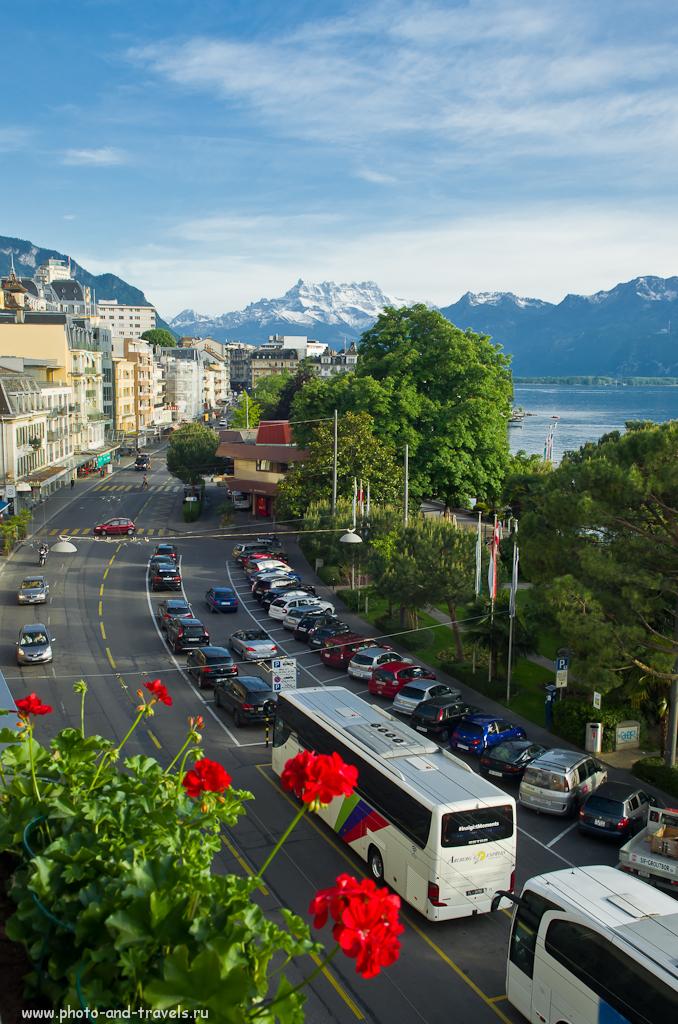 Фото 4. Путешествие в Швейцарию. Отдых в Монтрё. Горный пейзаж, снятый на широком угле.