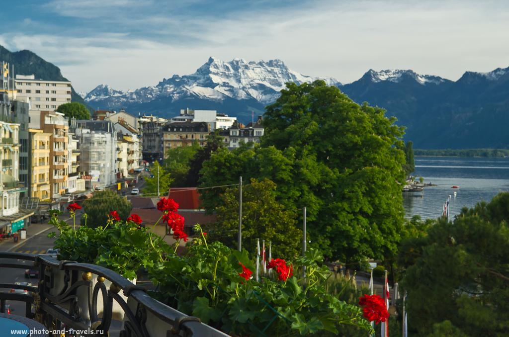 Фотография 5. Отчет о поездке в Швейцарию. Курорт Монтрё (Montreux). Те же горы, но снятые на более длинном фокусном расстоянии.