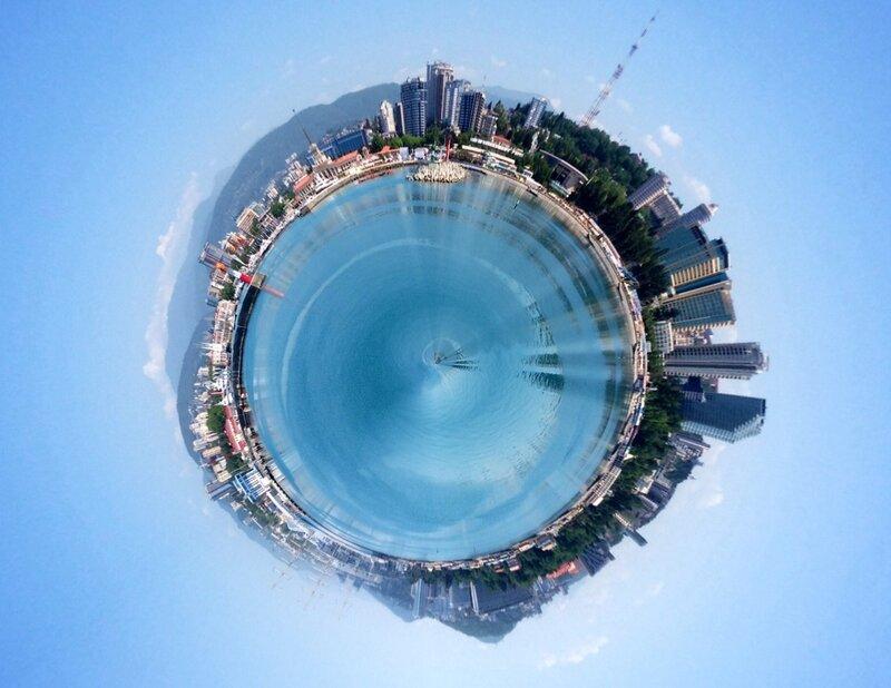 Круговая панорама морского порта