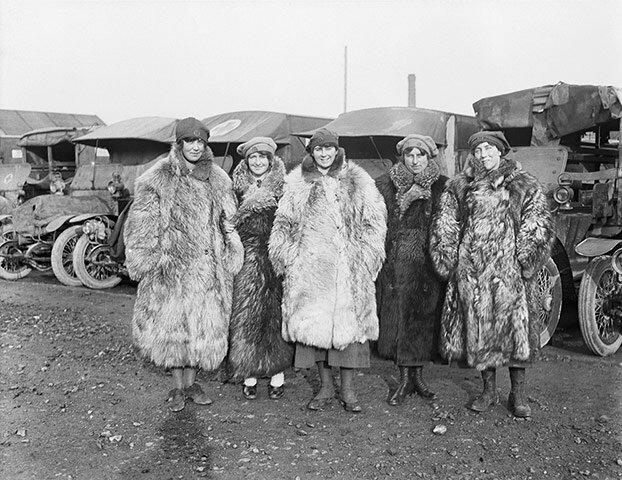 Five ambulance drivers of the First Aid Nursing Yeomanry