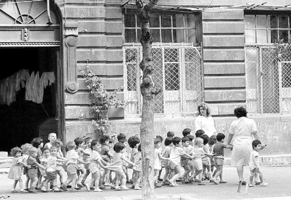 Baku. Kindergarten for a walk, 1962