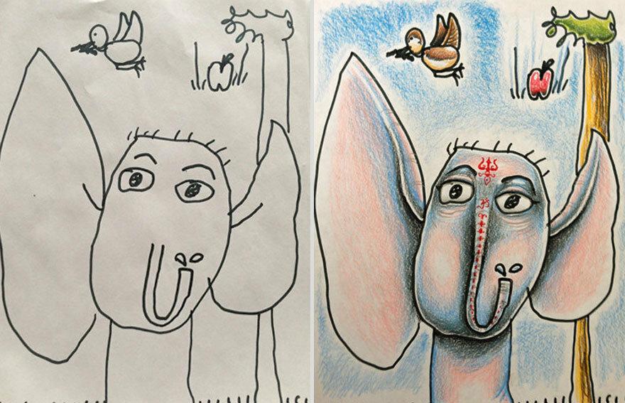 Папа раскрашивает рисунки своих детей