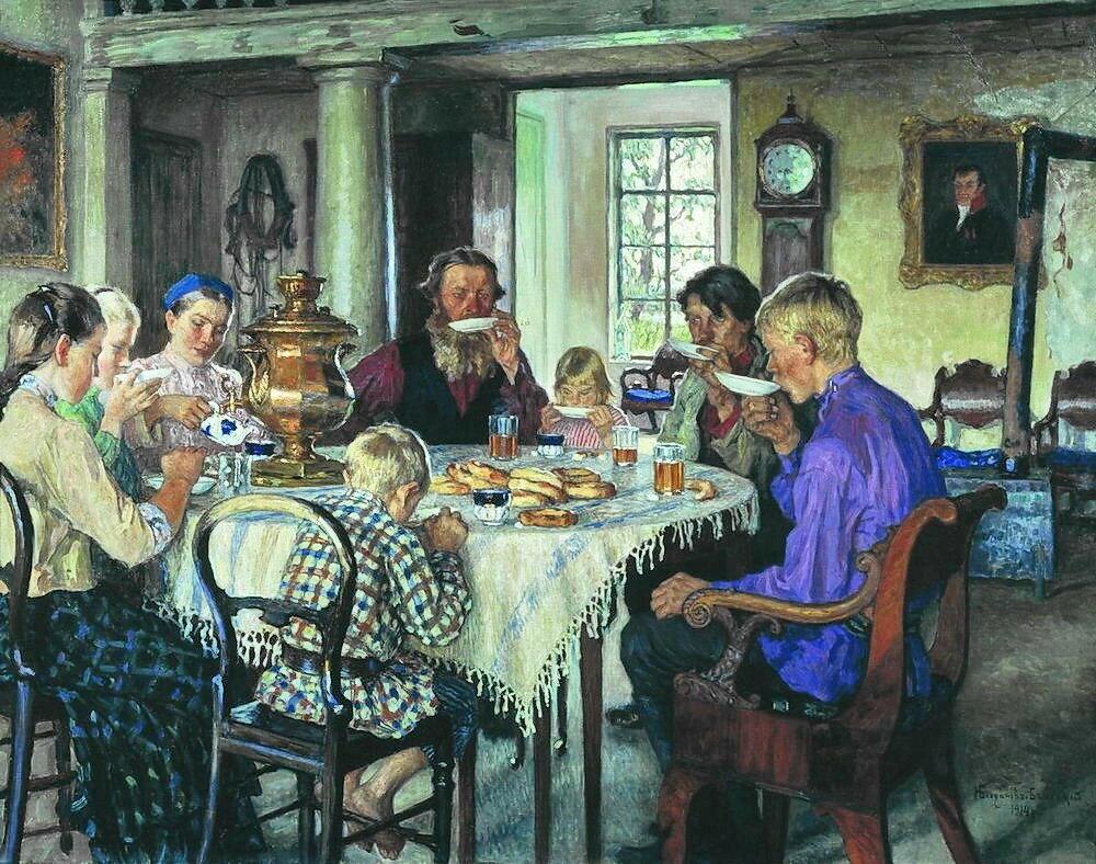 Новые хозяева. Чаепитие. 1913 124.2x160  Барнаул.jpg