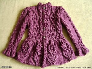 На баске цветочки для внучки и дочки -тёплая кофта спицами