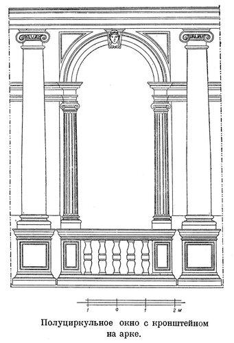 Полуциркульное окно с кронштейном на арке, обработанное ионическим ордером
