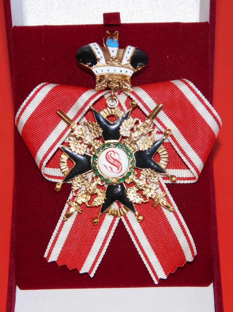 Крест орден Святого Станислава 1 ст.(с мечами,ис короной,  чёрной эмали)