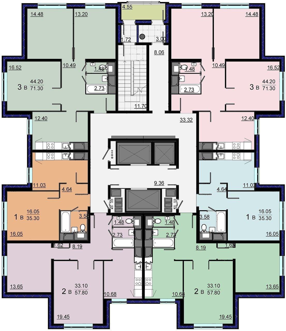 Дом серии и155 7 подъездов, 19 этажей