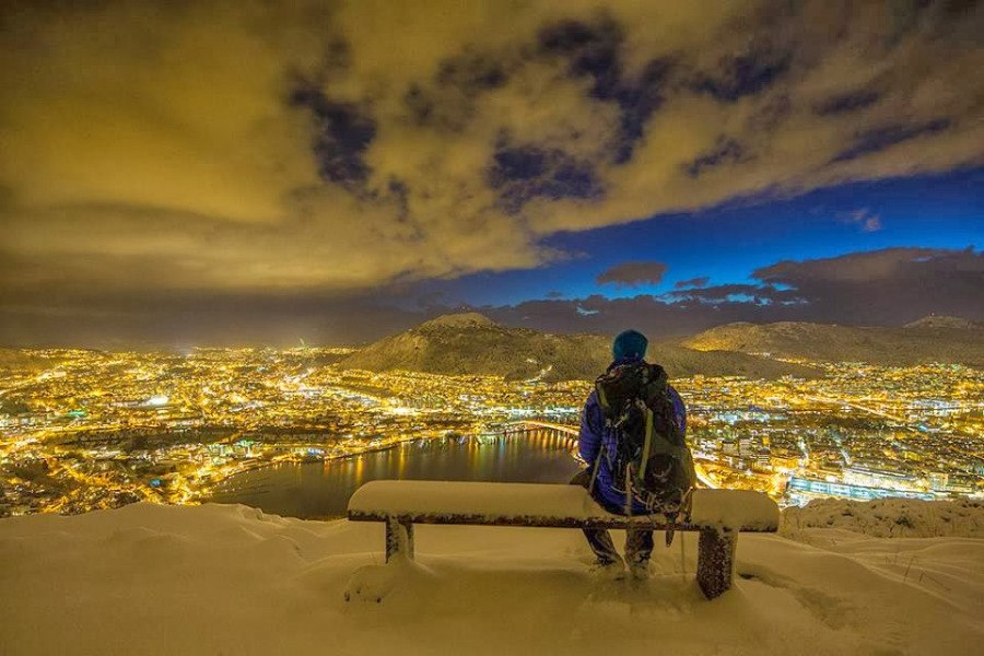 On a bench in Norway