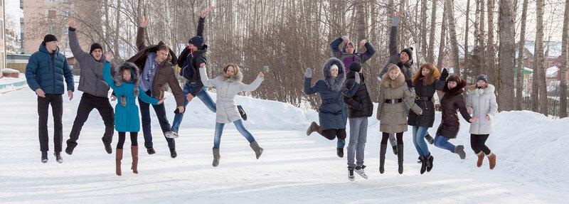 Школа №29. 11 А. Коллективное фото в прыжке