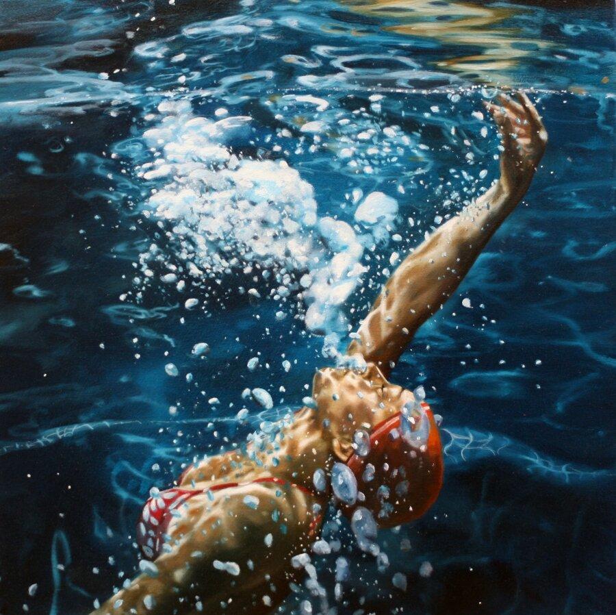 underwater painting people swimming - 800×798