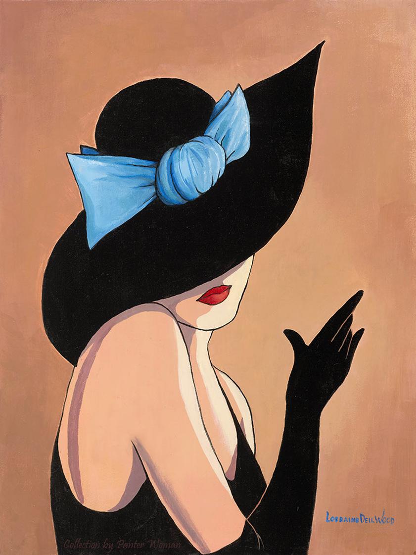Картинки женщина в шляпе рисунок, поздравления дню
