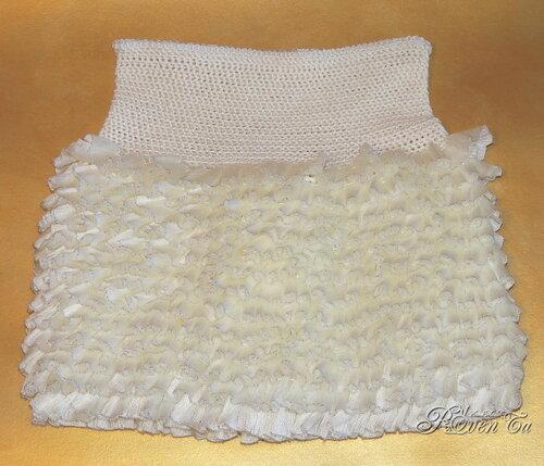 юбка с рюшами, юбка с воланами, юбка для девочки, ленточная пряжа болеро, roventa-handmade