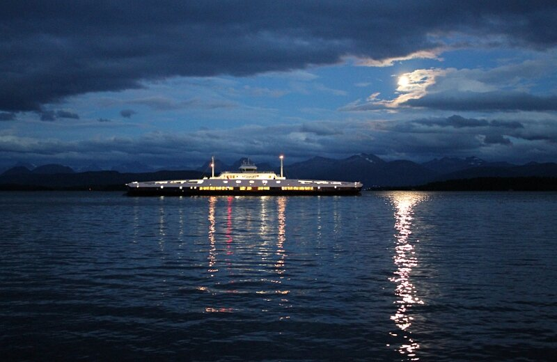 Molde, evening, moon, Molde-Vestnes ferry