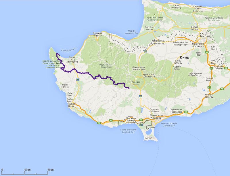 схема маршрута пешеходного похода по Кипру