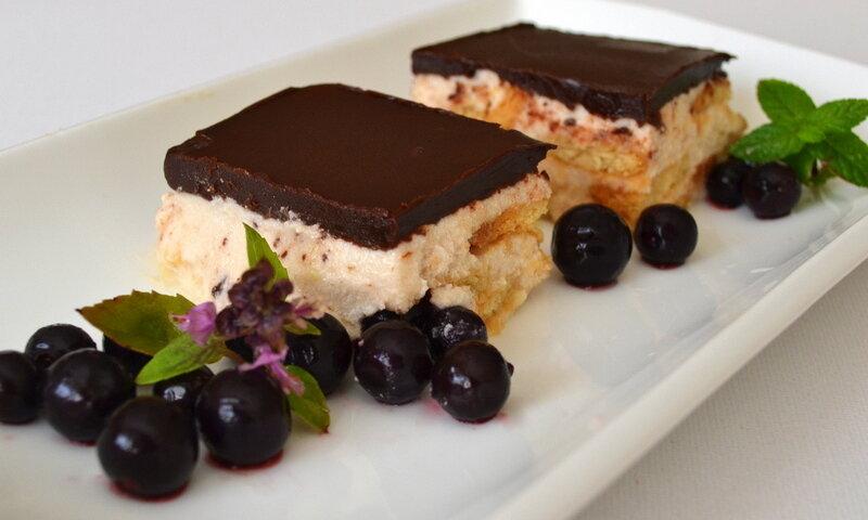 Творожный торт с ванильным пудингом и шоколадом