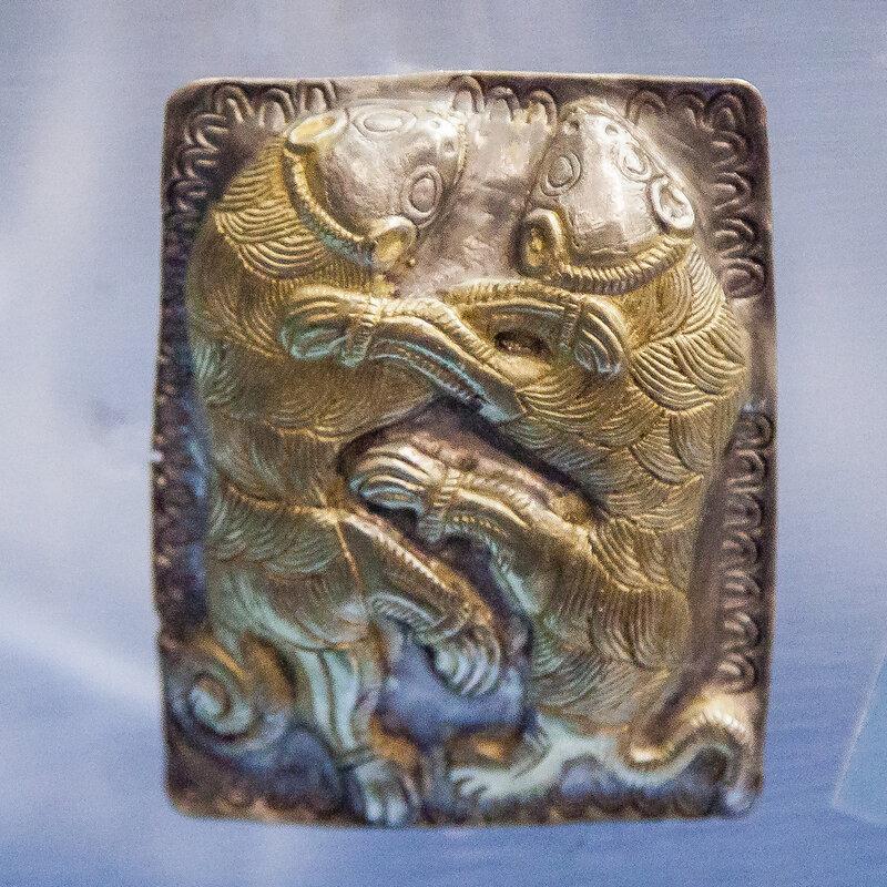 Часть украшений конской сбруи. Серебро с позолотой.