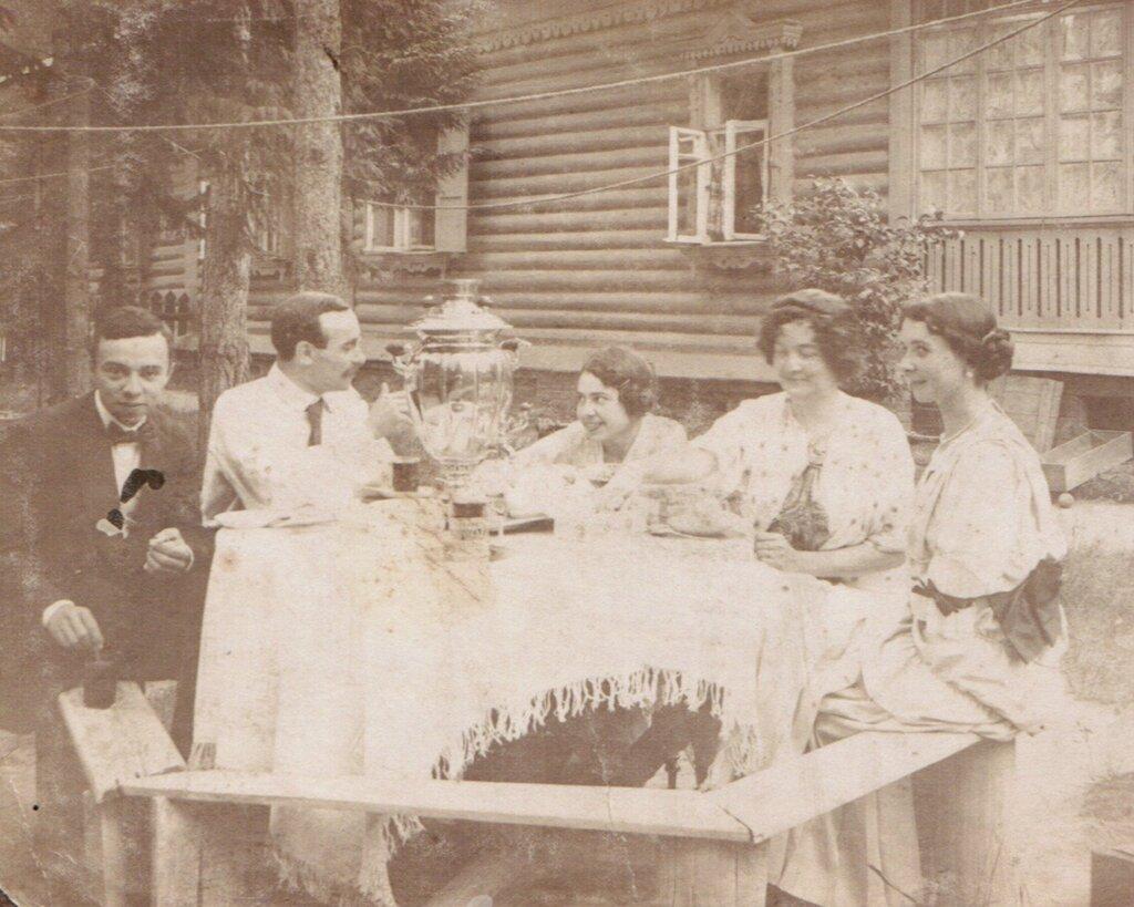 Drinking tea at a dacha, 1900's