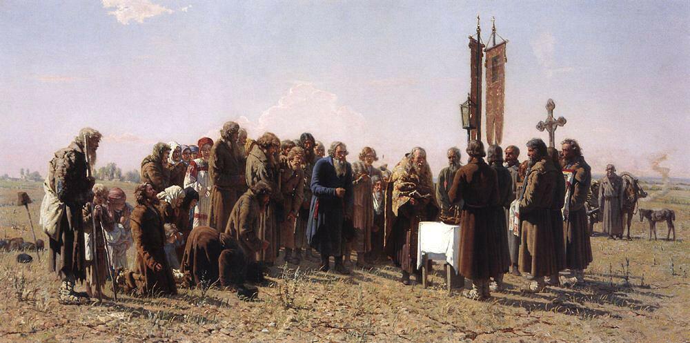 «Молебен во время засухи» Холст, масло. 74 x 148 см.Омский областной музей изобразительных искусств имени М.А. Врубеля,Омск, Россия