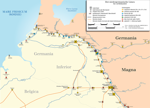 Карта нижнегерманского лимеса