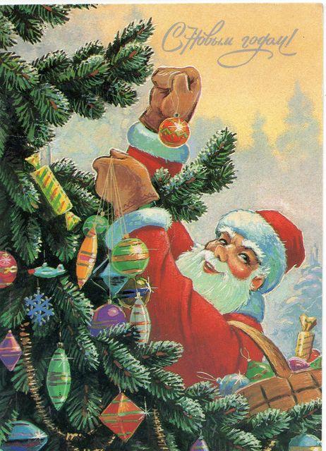 Дед Мороз наряжает елку.  С Новым годом!