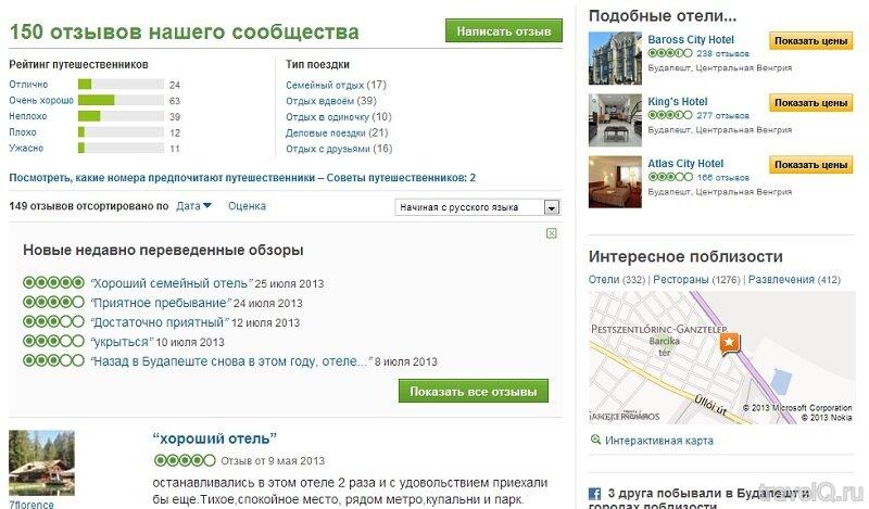 tripadvisor рейтинг и отзывы об отелях
